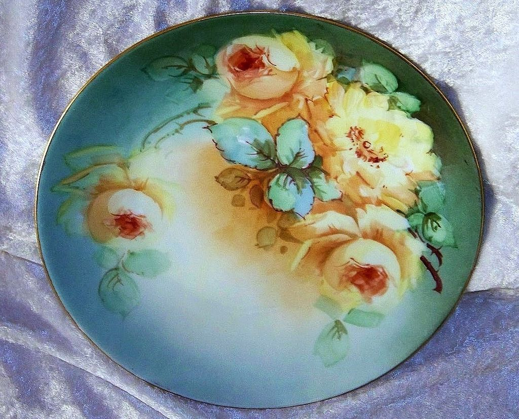 "Outstanding Favorite Bavaria 1900's Hand Painted Vibrant ""Deep Yellow Roses"" 9-1/4"" Plate by the Outstanding Listed Artist, ""William Wands"""