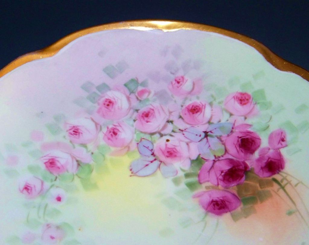 "Gorgeous JC Bavaria 1900's Hand Painted ""Petite Red & Pink Roses"" 8-3/4"" Plate by the Artist, ""F.M."""