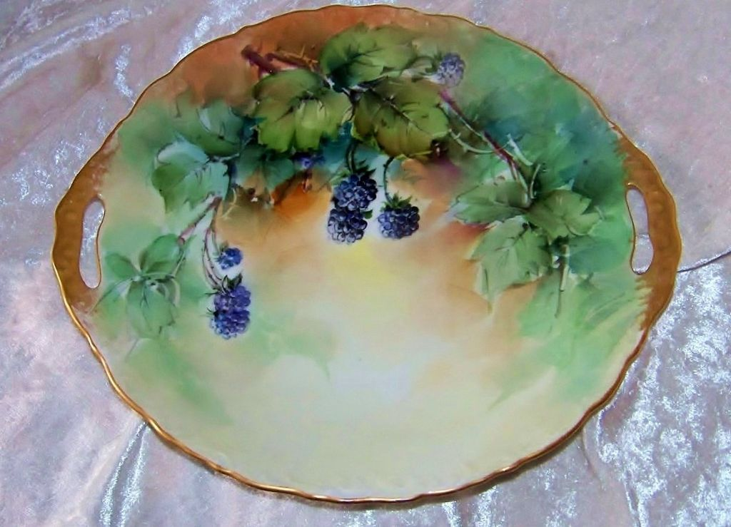 "Gorgeous Bavaria 1900's Hand Painted ""Blackberries"" 10-3/4"" Golden Gild Handle Plate"