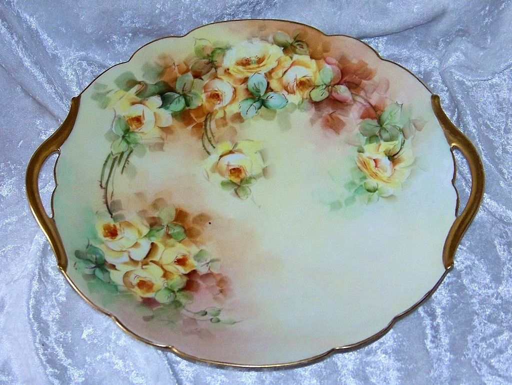 "Attractive T & V Limoges France 1900's Hand Painted Vibrant ""Yellow Roses"" 11"" Plate by the Artist, ""Joyce"""