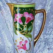 """Gorgeous J.P.L. Limoges France 1900's Hand Painted """"Pink Lily & Gold Baby Breath"""" 12-1/4"""" Floral Tankard"""
