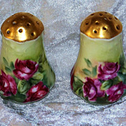 "Outstanding Bavaria 1900's Hand Painted ""Deep Red Roses"" 3"" Salt & Pepper Shakers - Red Tag Sale Item"