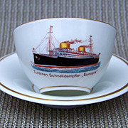 "Scarce  Carstens Kommandit-Gesellschaft 1930's German Cruise Liner ""Europa"" Hand Painted  Scenic Cup & Saucer"