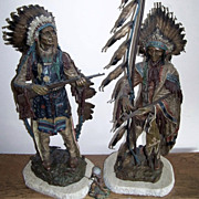 "Magnificent Original Museum Quality 1895 Circa Carl Kauba's Native American Warriors ""War & Peace"" 28"" & 33-1/2"" Cold Painted Bronze Sculptures Signed By the International Renowned Artist, ""C. Kauba"""