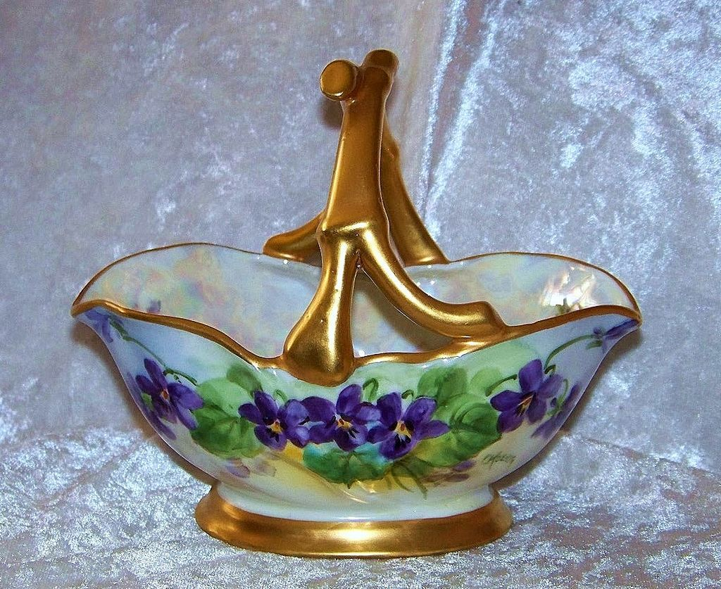 "Outstanding Bavaria 1900's Hand Painted Vibrant ""Violet"" Gild Gold Handle Flower Basket With Flared Pedestal Base by the Pickard Artist, ""Carl Koenig"""