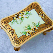 """Gorgeous Limoges 1915 Hand Painted """"Yellow Pansy"""" Footed Dresser Box by Listed Chicago Decorator, """"Christina Mueller"""""""