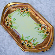 "Beautiful MZ Austria 1915 Hand Painted ""Yellow Pansy"" Tray by Listed Chicago Decorator, ""Christina Mueller"""