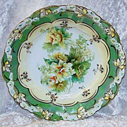 """Gorgeous RS Prussia 1900's """"Roses & Wild Flowers"""" Rosebud 7-5/8"""" Plate"""