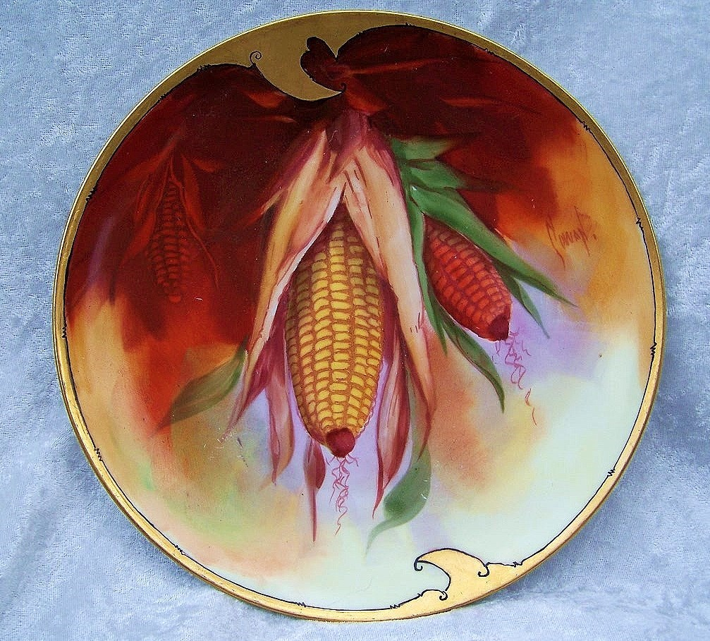 """Exceptional Bavaria & Julius Brauer Studio Early 1900's Hand Painted """"Corn Plant"""" 8-5/8"""" Plate by the Listed Artist, """"Cowan"""""""