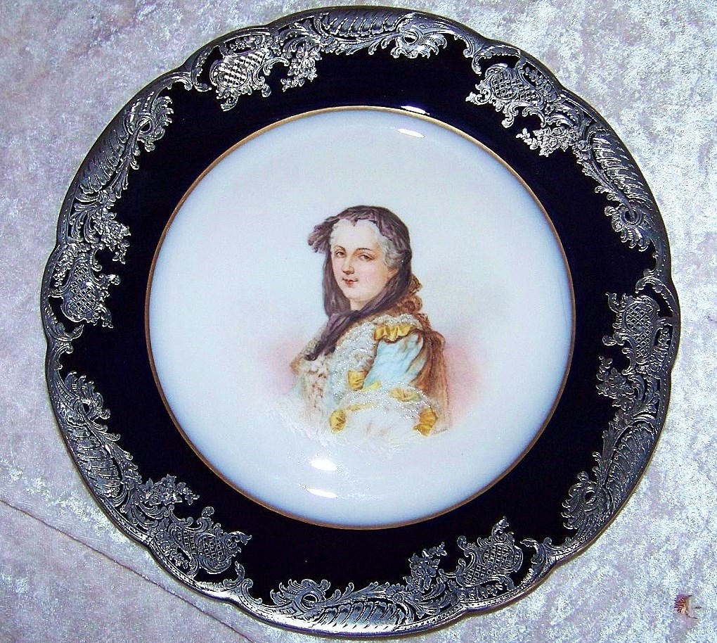 "Outstanding Sevres 1850 Hand Painted Portrait ""Queen Marie Leczinska"" Heavily Silver Overlay 9-3/4"""" Plate Artist Signed"