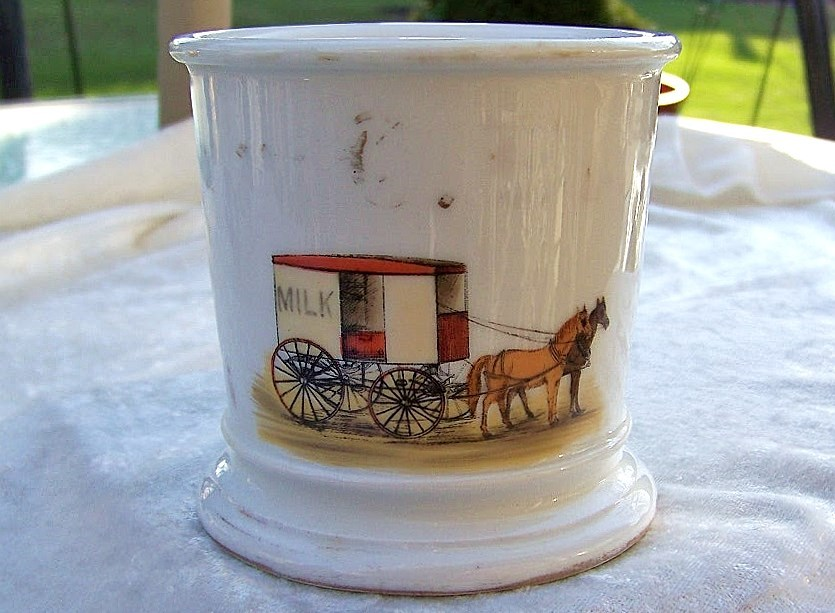 "Vintage T & V Limoges France 1900's Hand Painted ""Milk Wagon"" Occupational Shaving Mug"