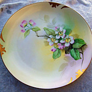 "Gorgeous Rosenthal & Pickard Studios of Chicago 1905 Hand Painted ""Wild Pink & White Roses"" 8-3/4"" Plate by the Listed Pickard Artist, ""Curtis Marker"""