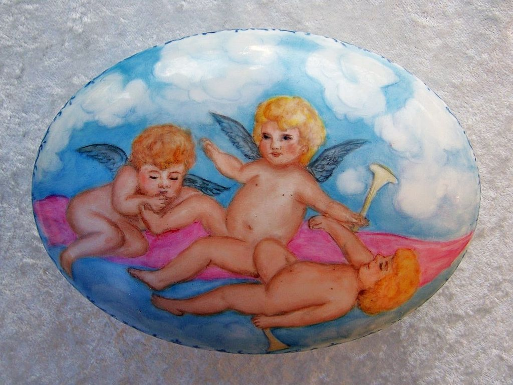 "Gorgeous ""Three Cherubs Frolicking in the Clouds"" Hand Painted 7-1/2"" Dresser Casket by the Artist, ""Phyllis Nelson"""