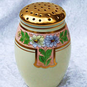 "Gorgeous Bavaria 1900's Art Deco""Pansies"" 4-3/4"" Heavy Gold Floral Sugar Shaker by the Artist, ""J. Mauren"""