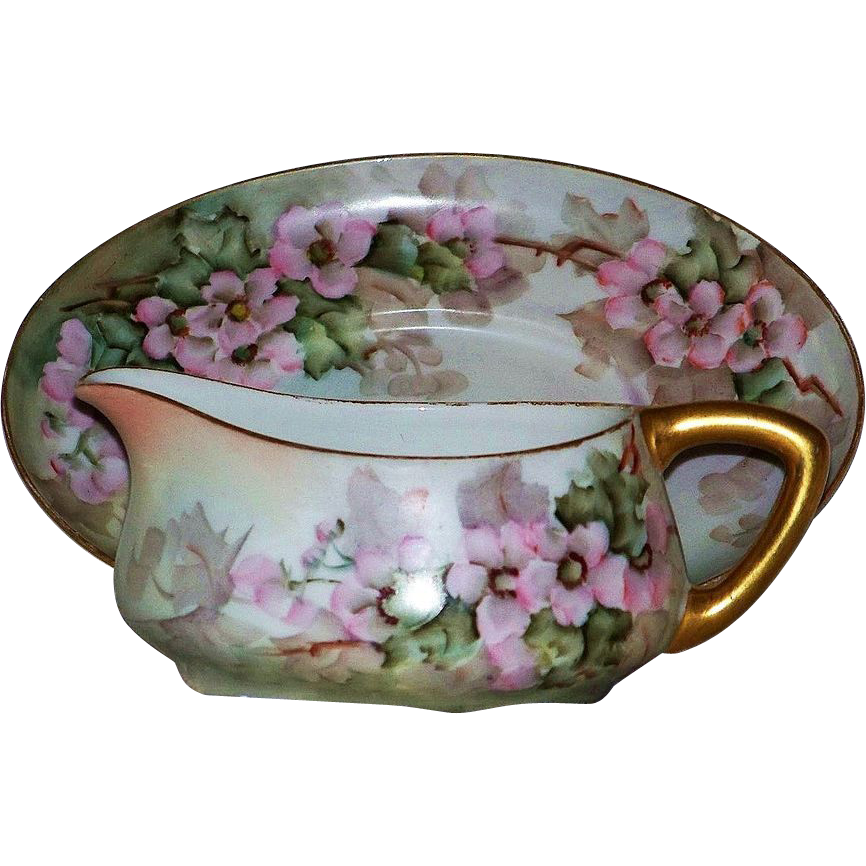 "Gorgeous Limoges France 1900's Hand Painted ""Wild Pink Roses"" Sauce Dish & Under Plate by the Artist, ""L.S. Fluckey"""