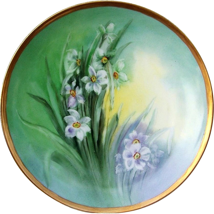"Beautiful H & Co. Bavaria 1912 Hand Painted ""White Water Lily"" 9"" Plate by the Artist, ""E.M.B."""
