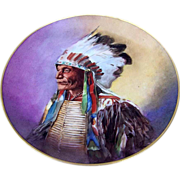 """J & C Bavaria 1896 Hand Painted """"Sioux Indian Chief with Warbonnet"""" 9-7/8"""" Plate by the Listed Chicago Artist, """"F. Grunewald"""""""