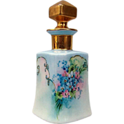 "Gorgeous Vintage Uno Favorite Bavaria 1900's Hand Painted ""Pink & Blue Forget Me Not"" Fancy 5-7/8"" Perfume Bottle & Stopper by the Artist, ""E. Wimans"""