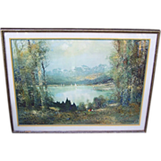 "Large & Impressive 1950-60's ""Summer Day On The Lake"" 41"" x 32"" Framed & Matted Print by the German Artist, ""Willi Bauer"""