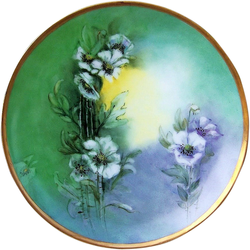 "Attractive Thomas Sevres Bavaria 1912 Hand Painted ""Wild White Flowers"" 9"" Plate by the Artist, ""E.M.B."""