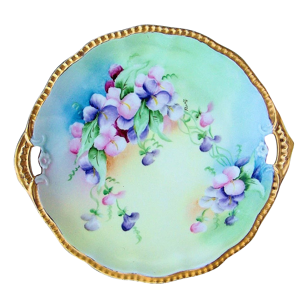 "Attractive Limoges France 1900's Hand Painted ""Red, Pink, & Purple Morning Glory"" 11-3/8"" Heavy Gilded Gold Charger by the Artist, ""F. Sugg"""