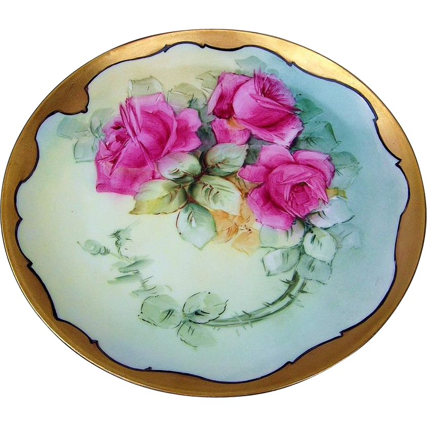 "Gorgeous Limoges France 1900's Hand Painted ""Red Roses"" 9-3/8"" Plate"