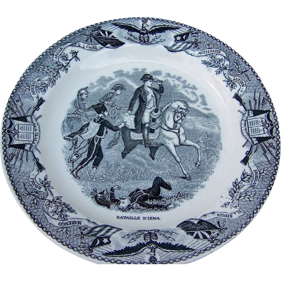 "Outstanding France 1850's Napoleon Commemorative 9-3/8"" Plate of the Battle of D'Iena"