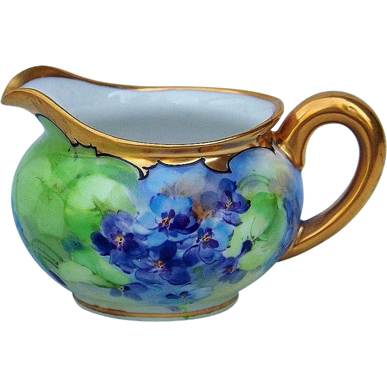 "Gorgeous D & Co. France 1900's Hand Painted Vibrant ""Violets"" Creamer"