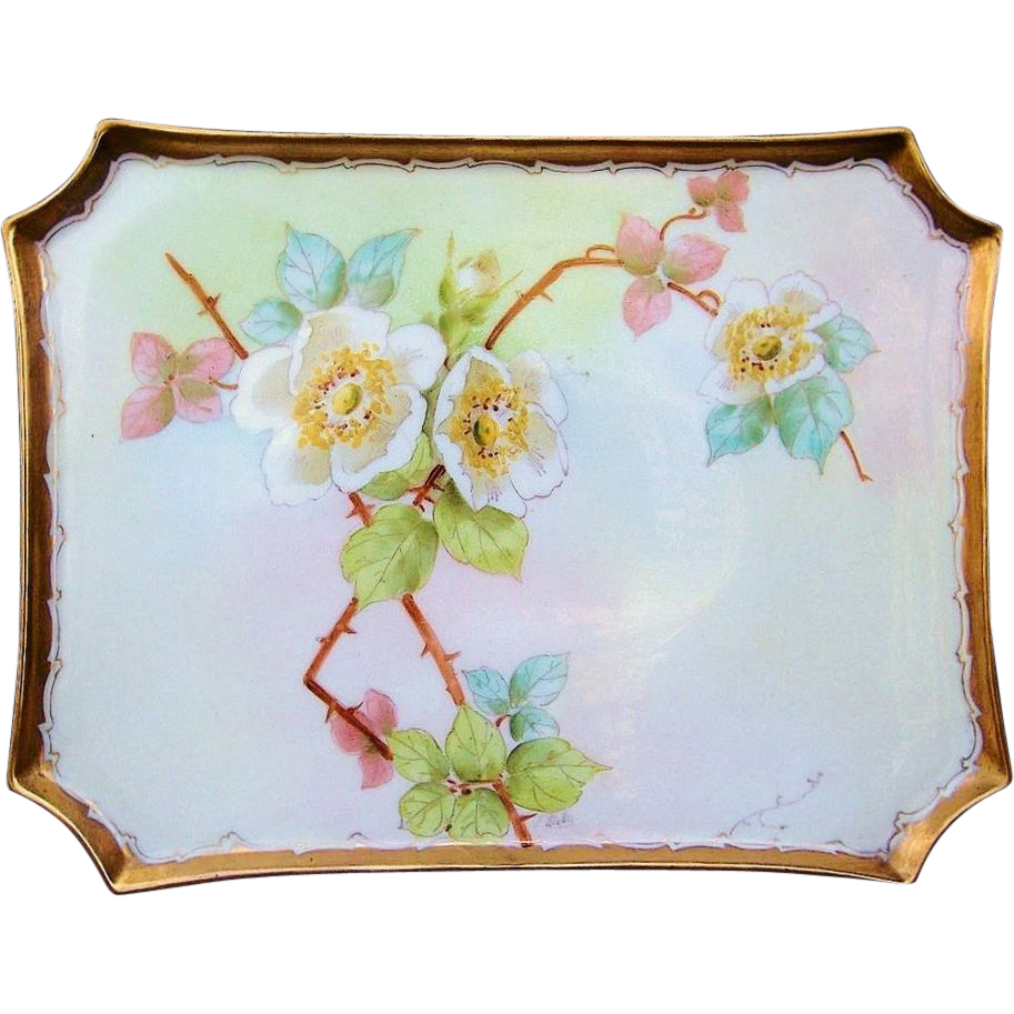 "Gorgeous William Guerin Limoges France and Pickard Studio of Chicago 1903 ""Wild White Roses"" 10-3/8"" Tray by Listed Artist ""Frederick Walters"""