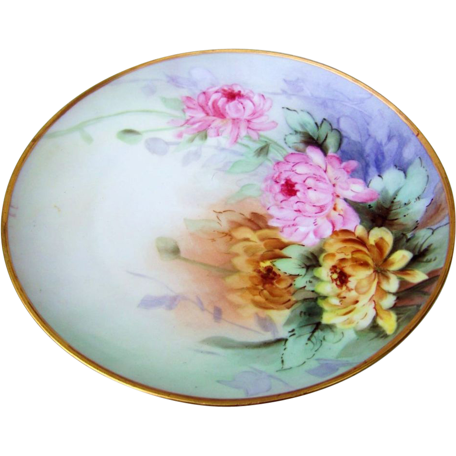 "Gorgeous Germany 1900's Hand Painted ""Pink & Yellow Mums"" 8-5/8"" Plate"