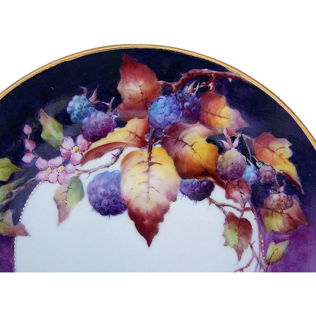 "Gorgeous Bavaria 1940-70's Hand Painted Vibrant ""Blackberry"" 8-5/8"" Plate by the Renown Artist, ""Maria Garcia"""