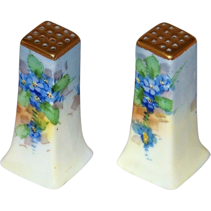 "Gorgeous Bavaria 1900's Hand Painted ""Forget Me Not"" Shakers by the Listed Artist, ""Joseph Kittler"""