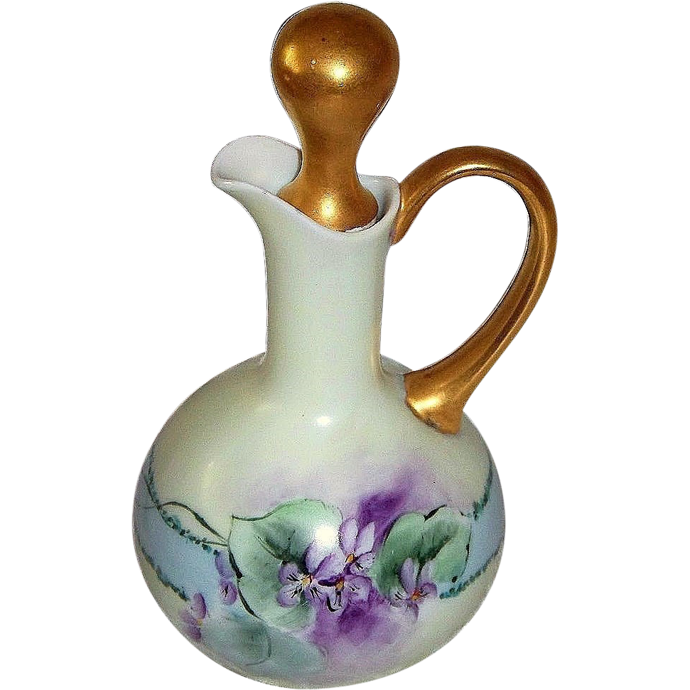 "Attractive O & E Royal Austria 1900's Hand Painted ""Violets"" 7"" Cruet & Gold Stopper by the Artist, ""Haverson"""