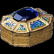 Fabulous 1920-30's Cobalt Blue Gem & Blue Rhinestone Gold Decor Eight Sided Pill Box