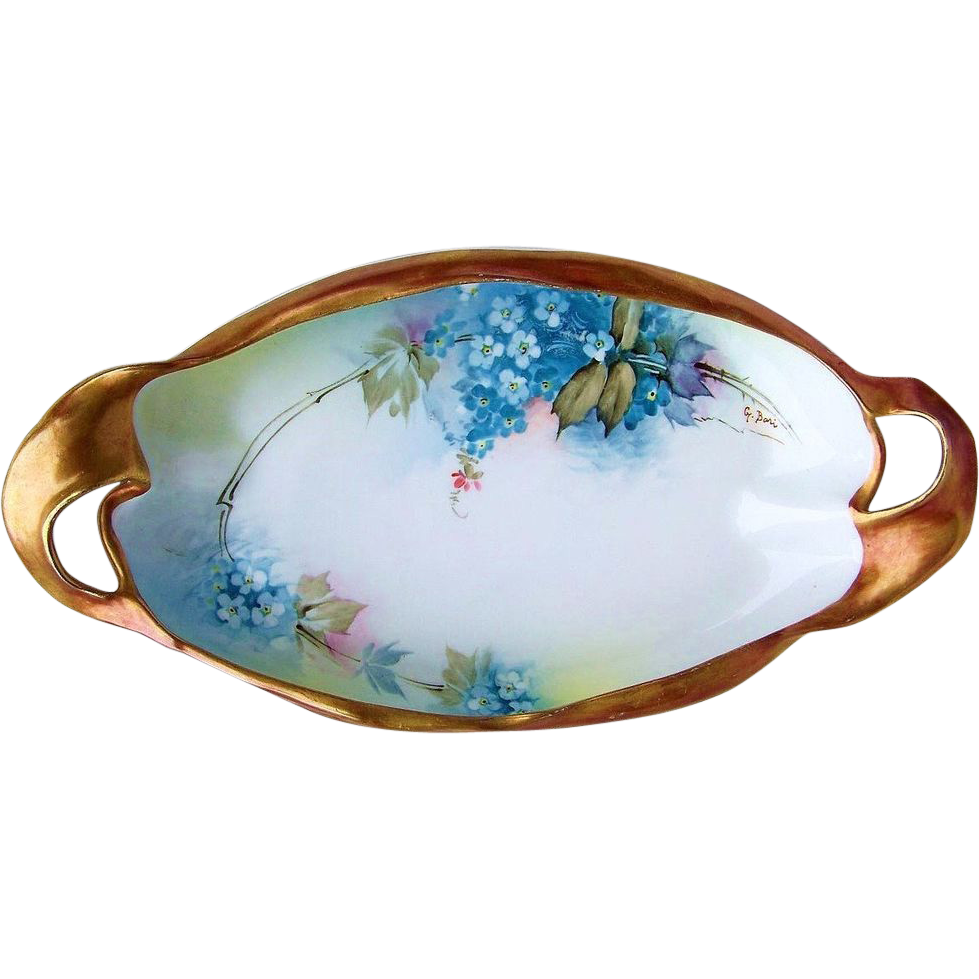"Gorgeous Ginori Italy 1900's Hand Painted Fancy Scalloped ""Forget Me Not"" 11"" Tray, in Heavy Bronze Gold, By the Artist, ""G. Bari"""