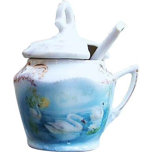 "Attractive Germany 1900's Scenic ""Three Swans On A Lake"" Mustard Pot & Original Matching Spoon"