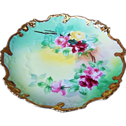 """Beautiful Omhe Germany 1900's Hand Painted """"Red, Pink, & Yellow"""" 7-3/4"""" Plate"""