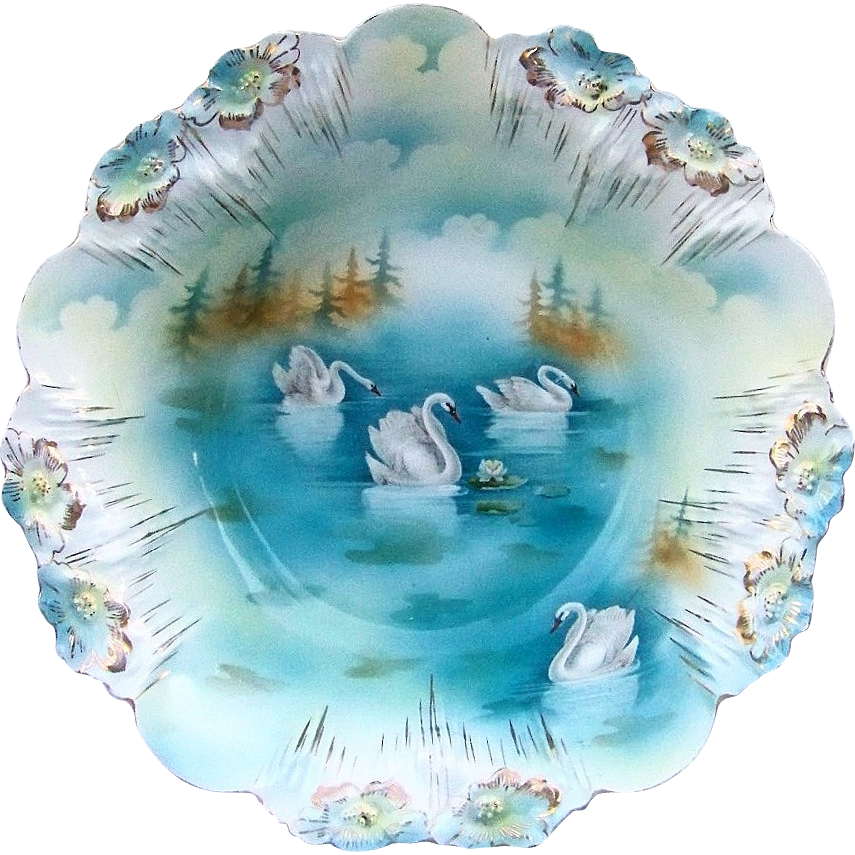 "Gorgeous RS Prussia 1900's ""Four Swans on the Lake"" 11"" Icicle Mold Bowl"