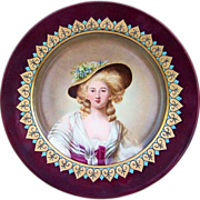 """Exceptional France 1903 Hand Painted Portrait """"Madame Elizabeth Vigee Le Brun"""" by Artist, """"B. Adcock"""""""