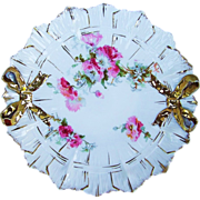 "Beautiful RS Prussia 1900's ""Pink & White Carnations"" 9-1/2"" Bow Tie & Ribbon Mold Plate"