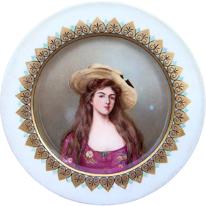 "Attractive France 1903 Hand Painted Portrait of ""Helene"" 9"" Plate by the Artist, ""B. Adcock"""