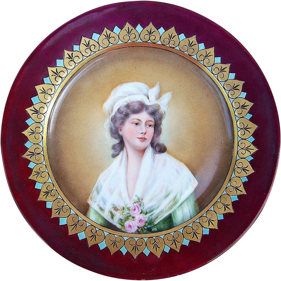 "Gorgeous France 1903 Portrait of A ""French Chambermaid"" 8-7/8"" Plate by the Artist, ""B. Adcock"""