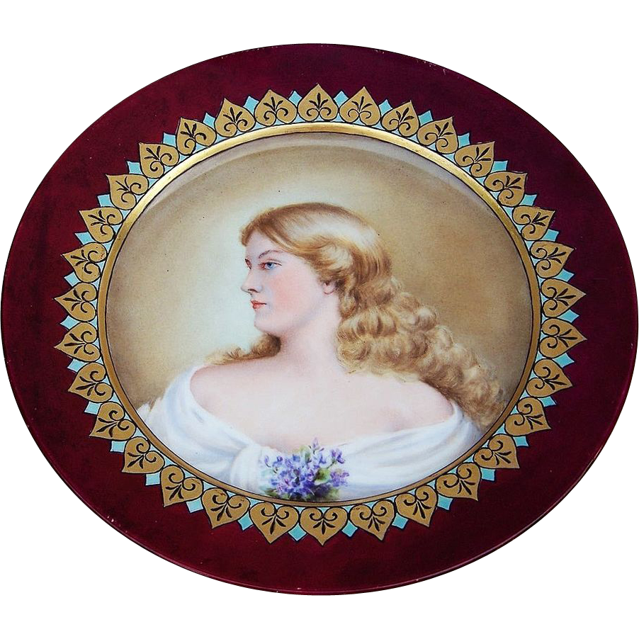 "Beautiful France 1903 Portrait of ""French Maiden"" 8-7/8"" Plate by the Artist, ""B. Adcock"""