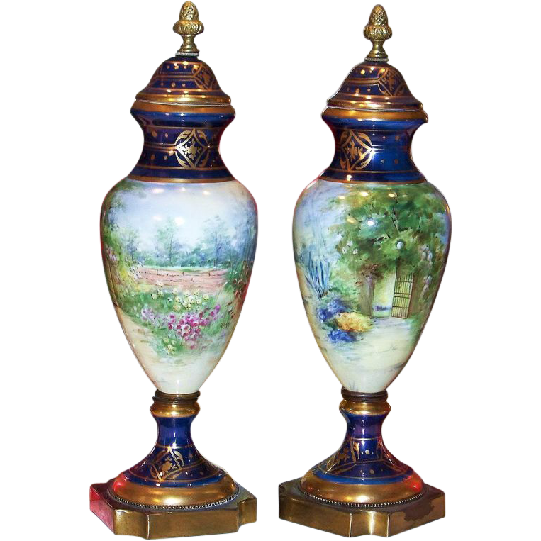 "16"" Pair of Spectacular & Scarce Pickard Studio of Chicago 1900's Hand Painted ""Garden Scene"" Cobalt Blue Matching Urns by the Listed Pickard Artist ""Rean"""