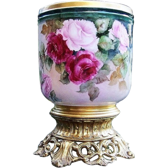 "Outstanding William Guerin Limoges France 1900's Hand Painted Vibrant ""Red & Pink Roses"" Jardiniere"