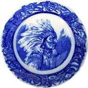 """Outstanding O.P. Co Syracuse China 1900's Hand Painted """"Plains Indian Chief"""" Flow Blue 9-7/8"""" Plate"""