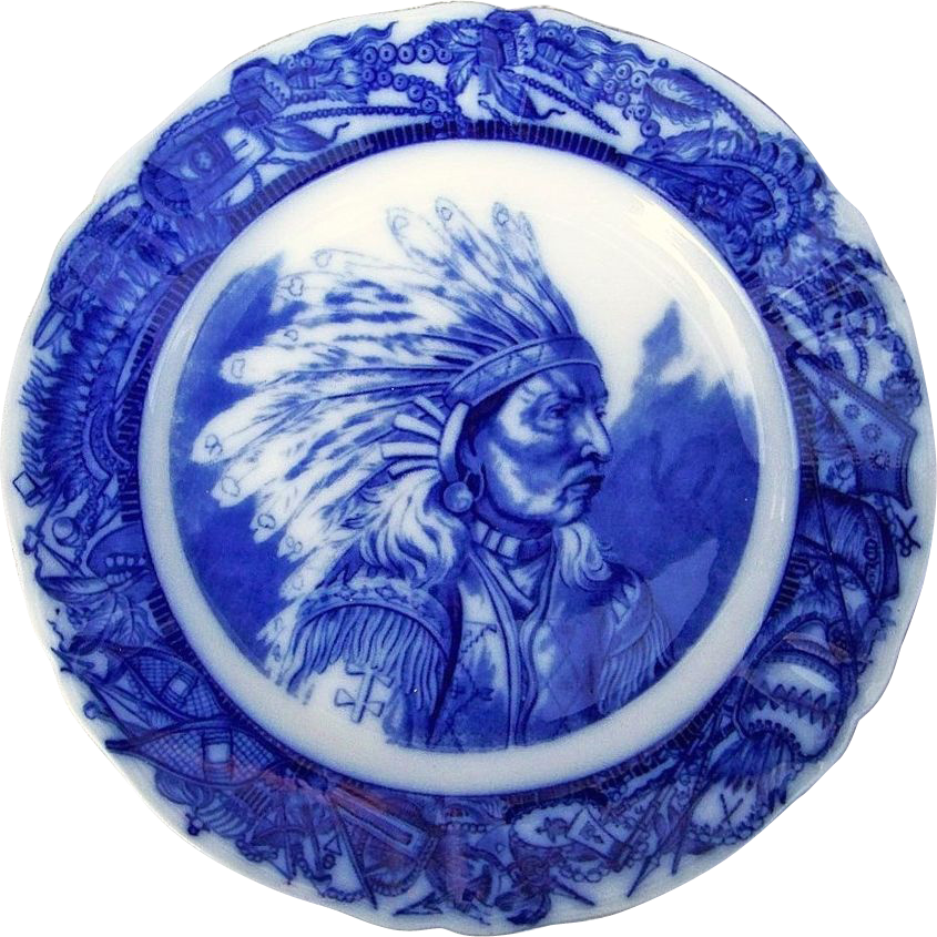 "Outstanding O.P. Co Syracuse China 1900's Hand Painted ""Plains Indian Chief"" Flow Blue 9-7/8"" Plate"