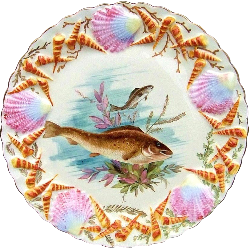 "Outstanding Vintage Pre-1900 Limoges France Hand Painted ""Fish & Sea Life"" 9-1/8"" Plate With Incredible Blown Out Fan & Funnel Shells"