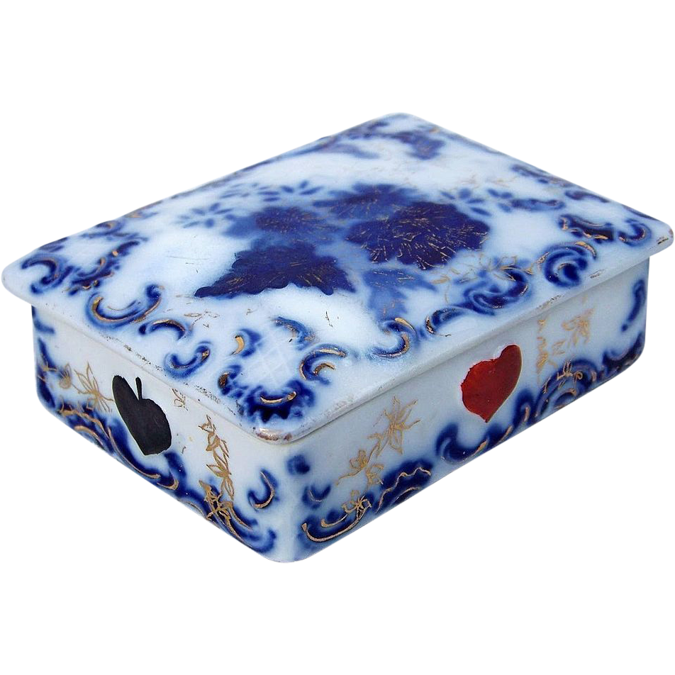 "Scarce RS Prussia 1900's Cobalt Blue ""Playing Card Box"" Holder"