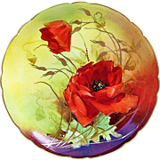 """Gorgeous J.P.L. France Limoges 1900's Hand Painted Vibrant """"Burnt Orange Poppy"""" 8-3/4"""" Plate by the Listed Artist, """"F.R. Gross"""""""